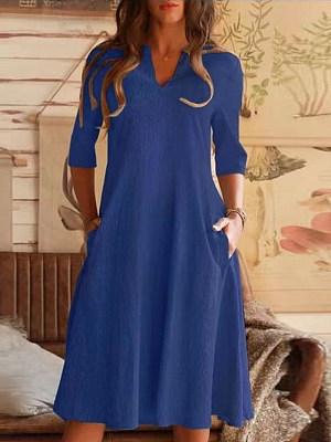 Berrylook Ladies V-neck Solid Color Cotton And Linen Shift Dress shoping, shop, a line dress, floral shift dress