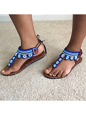 Ethnic flat flip-flop sandals boho beaded beach shoes, 11331558