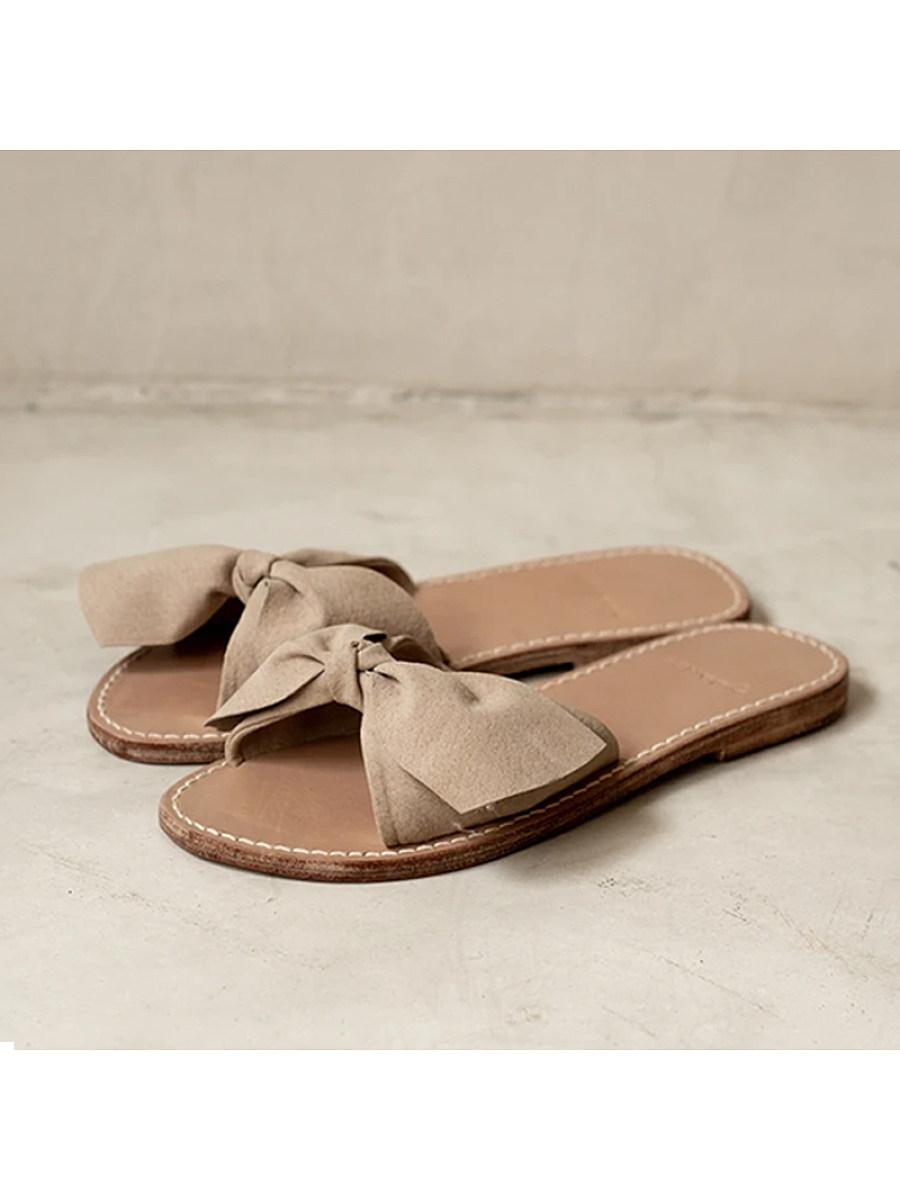 Women's comfortable flat bottom bow slippers