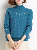 Image of High Collar Floral Long Sleeve Knit Pullover