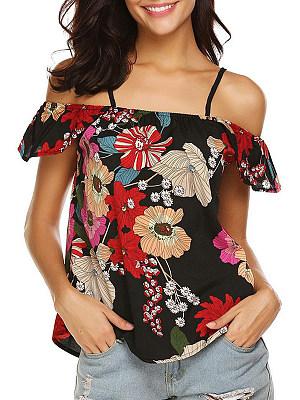 Open Shoulder Floral Short Sleeve Blouse