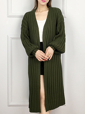 Casual Plain Long Sleeve Knit Cardigan, 10366604