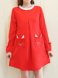 Image of Colorblock Round Neck Long Sleeve Dress