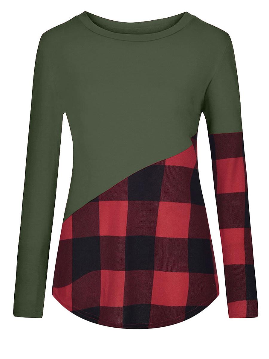 Round Neck Patchwork Plaid Long Sleeve T-shirt