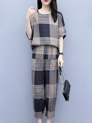 Round Neck Plaid Short Sleeve T-shirt And Elastic Waist Bottom Suit, 11267662