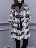 Image of Women's plaid coat mid-length woolen stitching coat