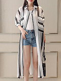 Loose striped plus size sun protection clothing
