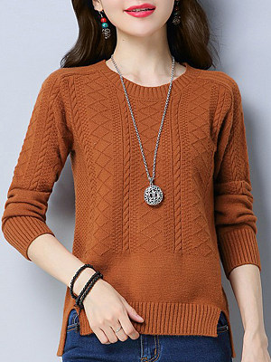 Round Neck Elegant Plain Long Sleeve Knit Pullover, 10390821