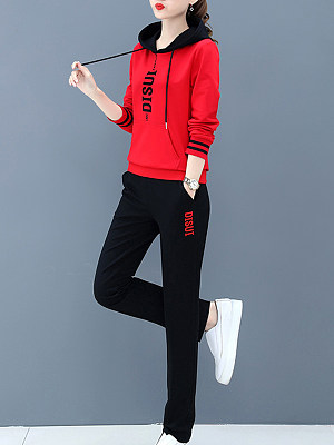Women's casual alphabet print sports suit gender:female, season:autumn,winter,spring, collar:sweater with cap, texture:polyester, pattern_type:printing, sleeve_length:long sleeve, sleeve_type:regular sleeve, style:japan and south korea, collar_type:hat collar, dress_occasion:daily, bust:108,clothing length:63.5,shoulder width:41,