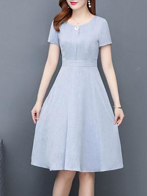 Round Neck Plain Skater Dress, 11353011