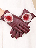 Image of Women's casual solid color plush ball warm gloves