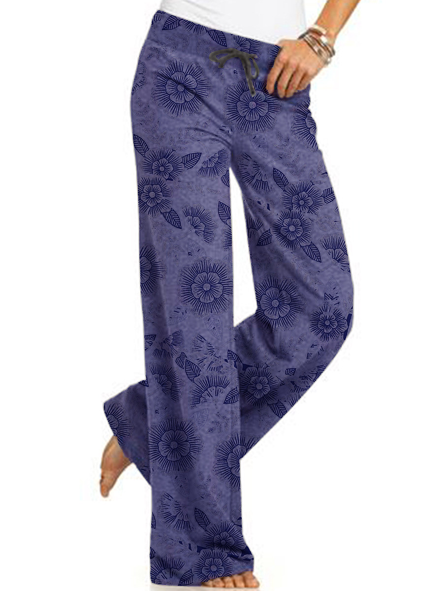 Casual printed lace-up wide-leg pants