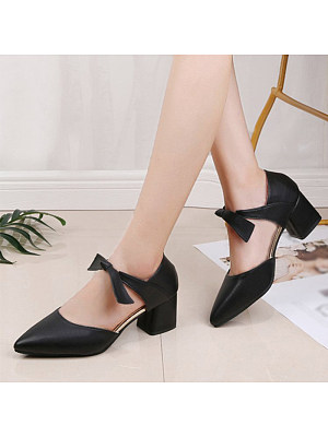 Women's Casual Pure Color Hollow Heels, 11062589