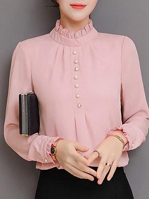 Band Collar Elegant Plain Long Sleeve Blouse, 11198682