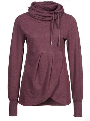 Pile of collars irregular front long sleeve sweater