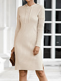 Image of Casual Hooded Knit Solid Color Long Sleeve Sweater Dress