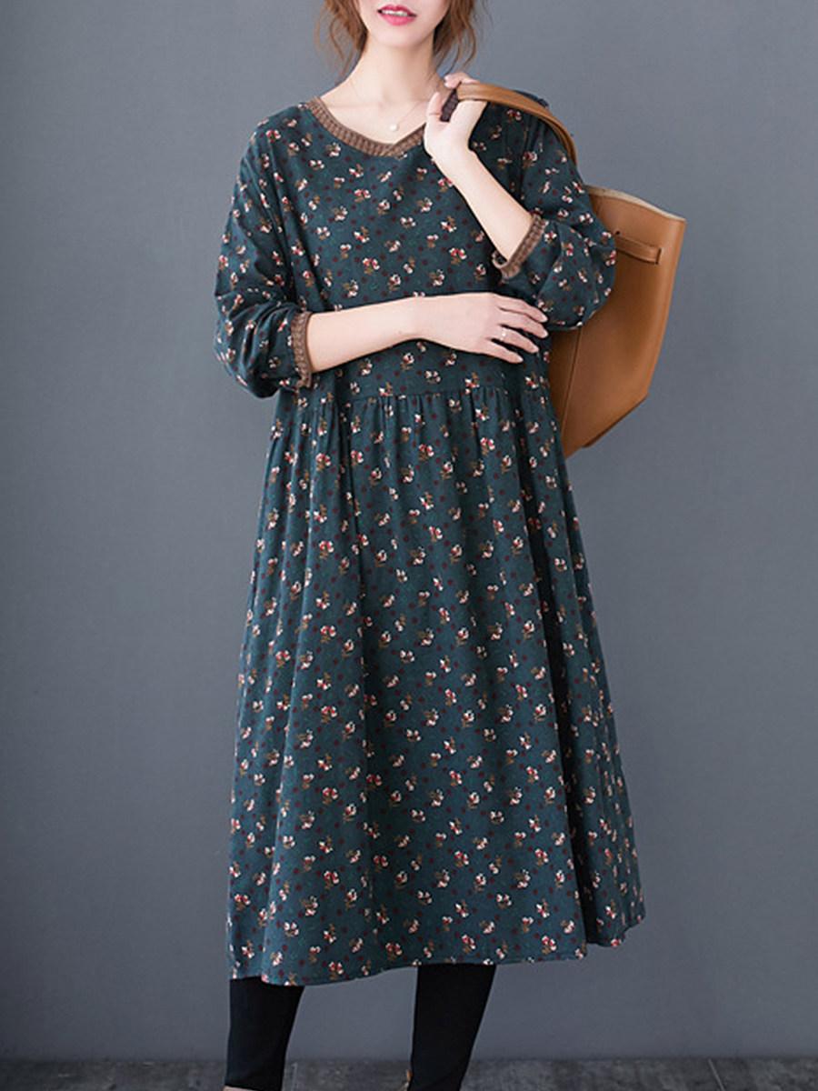 Casual Loose Print Long Sleeve Dress