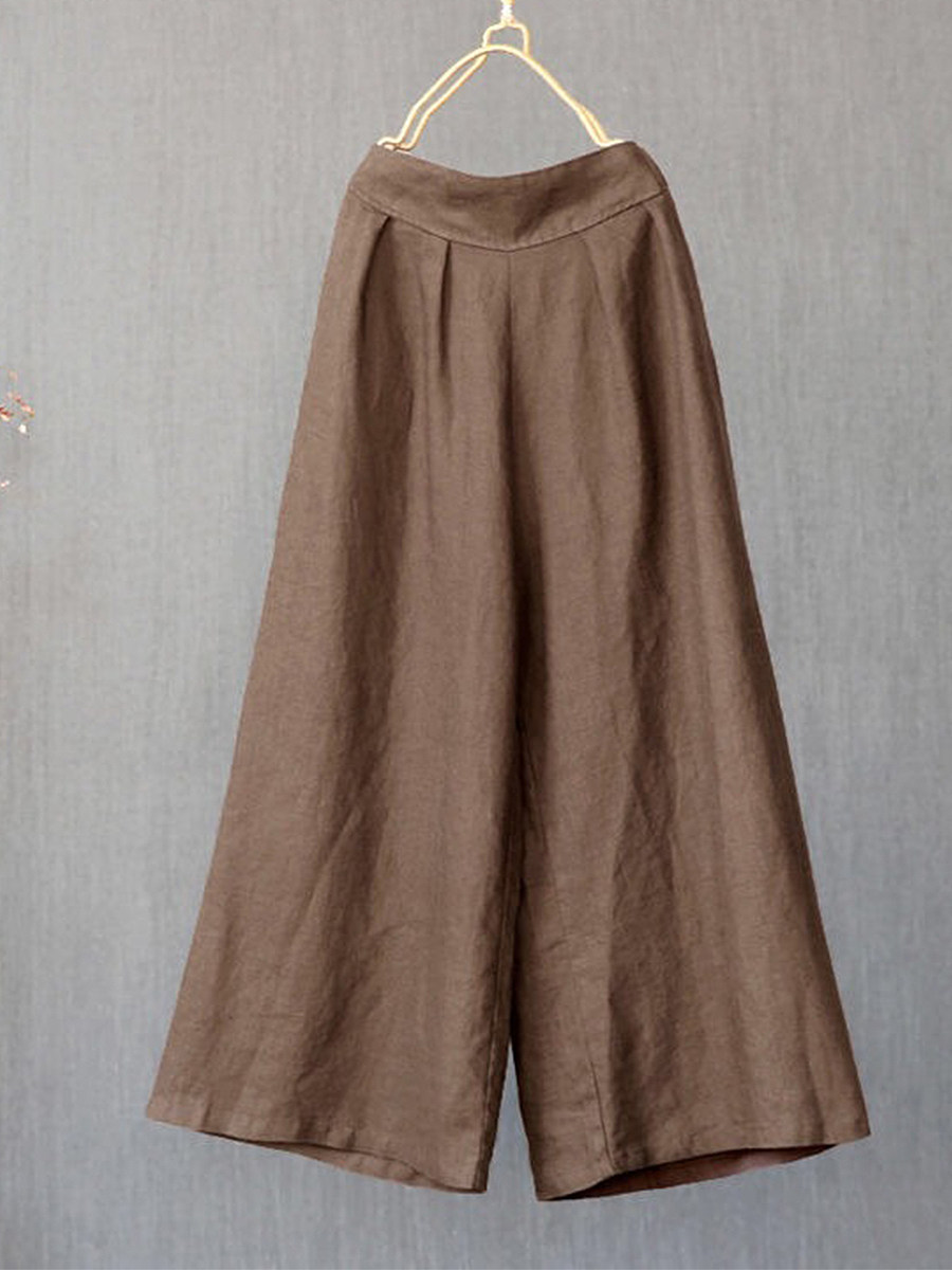 BerryLook Fashionable simple loose solid color cotton and linen wide-leg pants