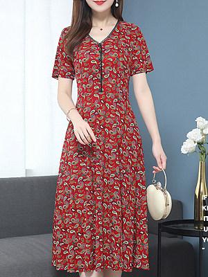 Ladies Fashion V-Neck Print Dress фото