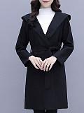 Image of Woolen Slim Lapel Waist Hooded Jacket