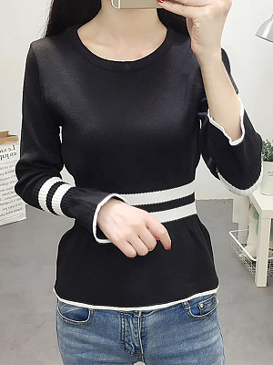 Round Neck Casual Striped Long Sleeve Knit Pullover, 10580288