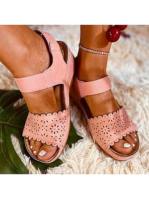 Lightweight toe buckle cutout wedge sandals, 11298041