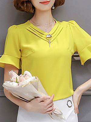 V Neck Elegant Plain Short Sleeve Blouse, 11270796