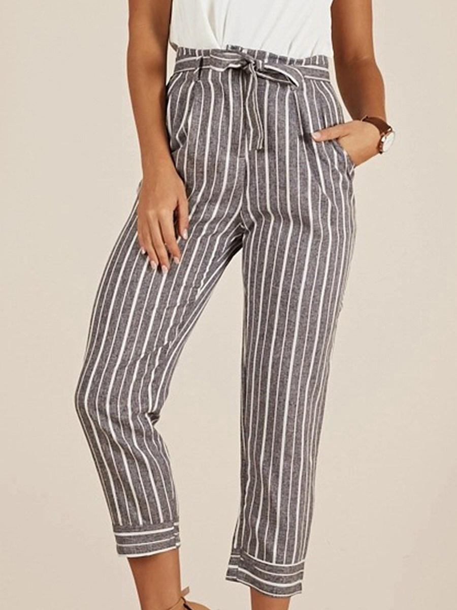 BerryLook Fashion striped high waist lace-up casual pants cropped pants