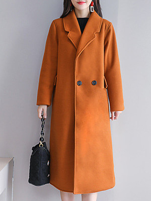 Women's fashion solid color mid-length coat gender:female, season:autumn,winter,spring, collar:lapel collar, texture:cotton, sleeve_length:long sleeve, sleeve_type:regular sleeve, style:japan and south korea, collar_type:suit lapel collar, dress_occasion:daily, bust:106,clothing length:107,shoulder width:42,