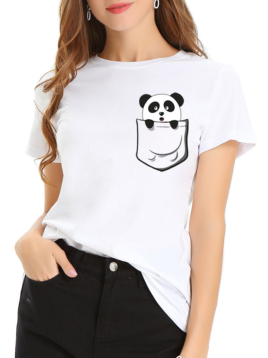 100% Cotton Round Neck Panda Printed Short Sleeve T-shirt