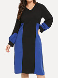 Image of Long Sleeve V-neck Color Block Dress