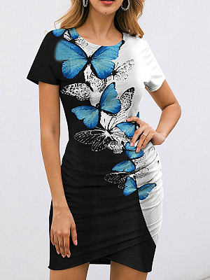 Berrylook Round Neck Short Sleeve Printed Bodycon Dress shop, stores and shops, Printing Bodycon Dresses, lace bodycon dress, floral dresses