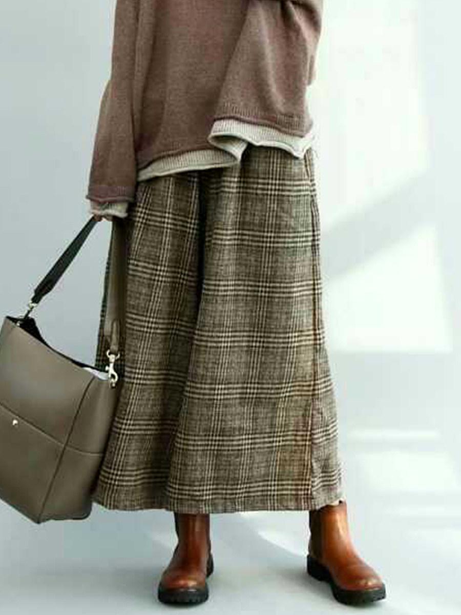 BerryLook Autumn and winter elastic waist plaid skirt pants cropped wide leg pants