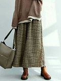 Autumn and winter elastic waist plaid skirt pants cropped wide leg pants