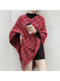 Image of Autumn and winter new fringed check knitted sweater top shawl