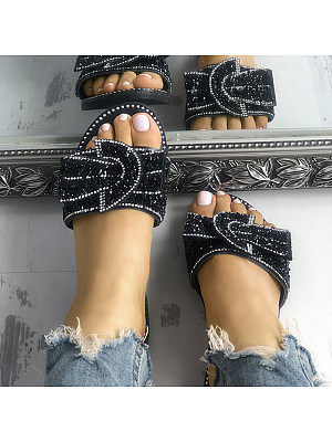 Fashion Flat Rhinestone Slippers, 23505847