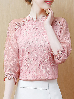 Band Neck Patchwork Lace Half Sleeve Blouse, 11161572