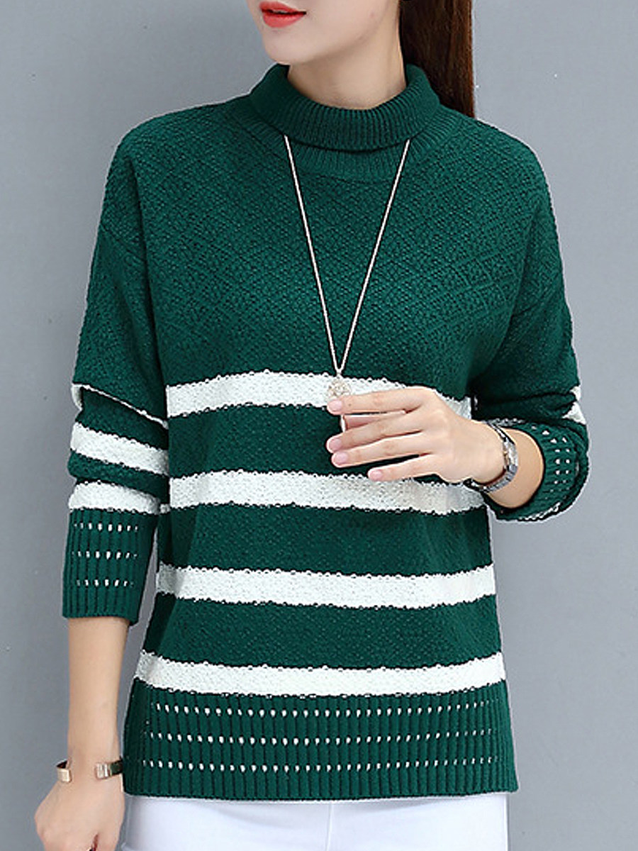 Short High CollarStriped Long Sleeve Knit Pullover - from $18.95