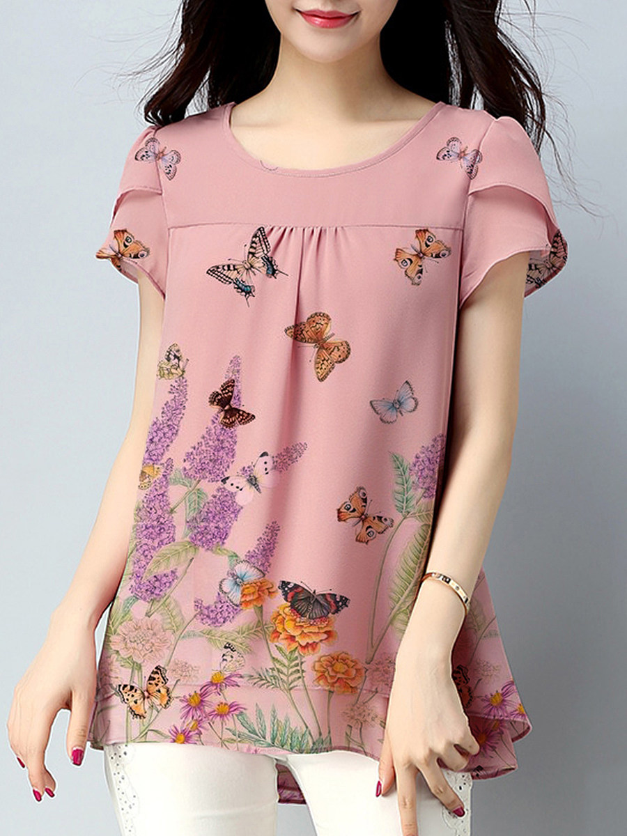 BerryLook Round Neck Butterfly Print Blouse