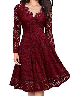 Berrylook V-neck Lace Long Sleeve Dress online shop, fashion store, white skater dress, floral skater dress