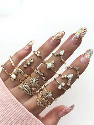 Bohemian Style 17-piece Ring Jewelry