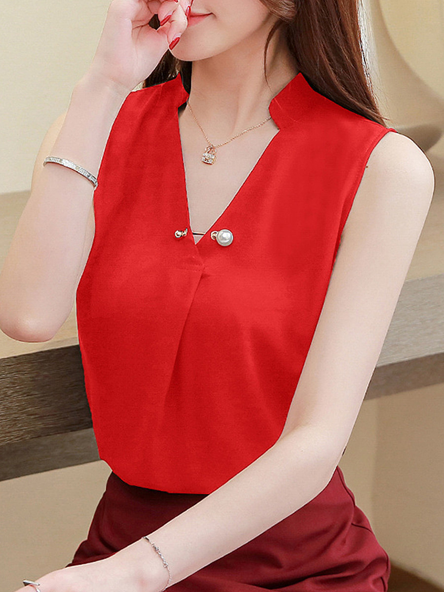 V Neck Plain Sleeveless Blouse