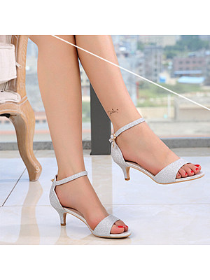 Fashion contracted ladies peep-toe buckle mid-heel sandals фото
