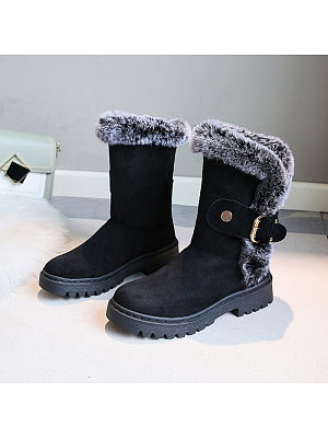 Individual flat with thick bottom and velvet warm snow boots, 9878491