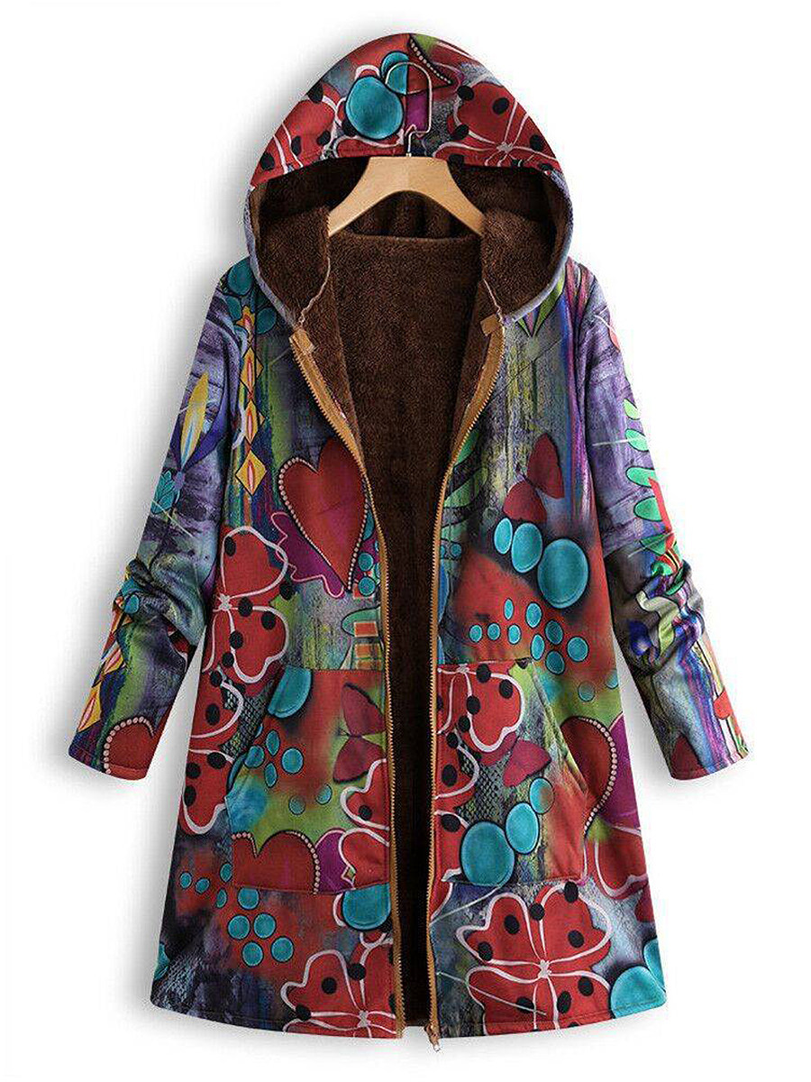 Women's fashion casual composite coat printing overcoat - from $27.95