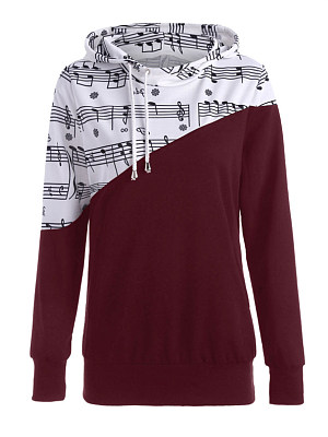 Casual womens printing spliced hooded