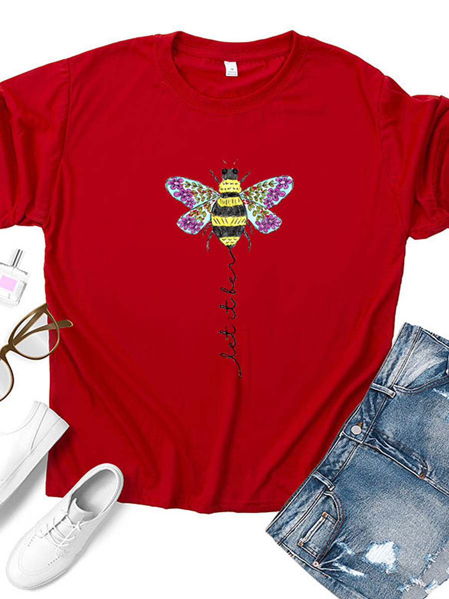 BerryLook Round Neck Cartoon Print Short Sleeve T-shirt