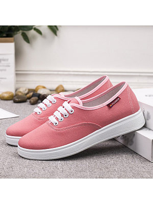 Women's Casual Solid Color Flat Canvas Sneakers, 10965903
