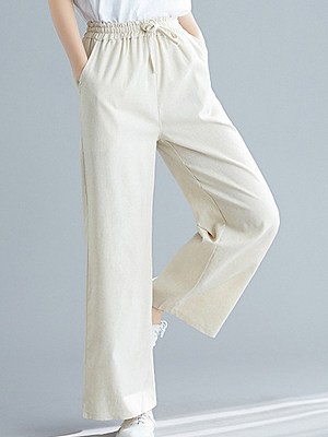 High-waist solid color wide-band loose trousers