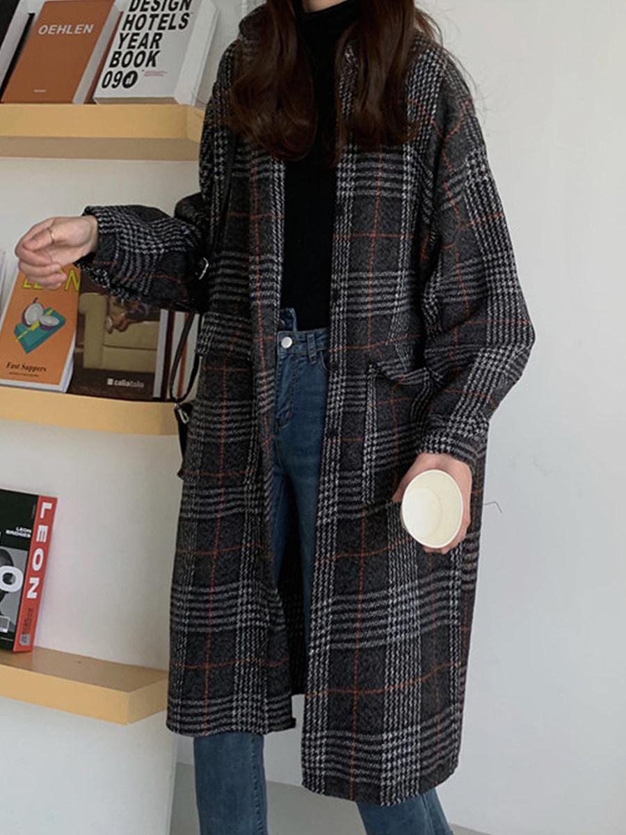 Ladies Fashion Vintage Plaid Long Coat - from $27.95